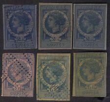 France 1880 Copies Revenues Timbre Imperfs Copies  Lot Of 6