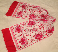 Vintage Polyester Pink and Red Flowers on White Scarf