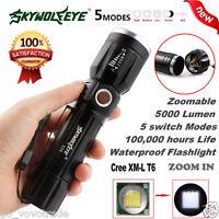5000Lumen 5 Modes Zoomable XM-L T6 LED 18650 Battery Flashlight Focus Lamp