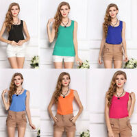 Women Lady Summer Loose Chiffon Sleeveless Vest Shirt Casual Blouse Tops S-3XL