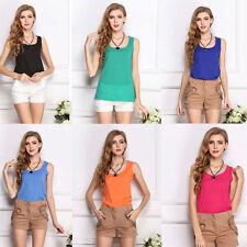 Women Lady Summer Loose Chiffon Sleeveless Vest Shirt Casual Blouse Tops S-3XL