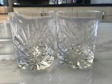 Two Cut Glass Whisky Tumblers
