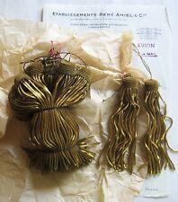 "AMAZING PRICE 6 Vintage/Antique French Dk Gld Metallic Bullion 4.5""Tassel Fringe"