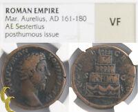 161-180 AD Marcus Aurelius AE Sestertius (VF NGC) CONSECRATIO SC Empire RIC-662