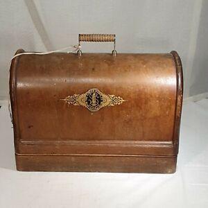 Antique/Vintage Singer 128, 128K handcrank Sewing Machine with bentwood case.