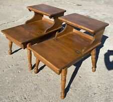 RARE Pair Vintage Mid Century Baumritter 2 Tier Step End Tables W Hinged Lids