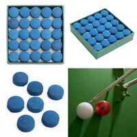 50Pcs Glue-on Pool Billiards Leather Blue Cue Tips Box Game Sport 9mm UK G