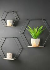 Set of 3 Hexagon Wall Shelves Industrial Style Metal Wood Shelving Shelf