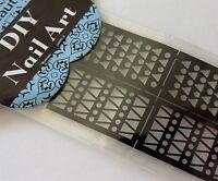 Nail Art Stencil Sticker Chevron Heart Diamond Check Broken Glass Flowers Styles