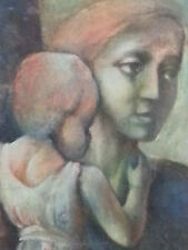 "Abstract Portrait ""Mother and  child"" , oil on canvas, signed"
