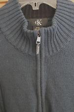 CK Calvin Klein Blue Mens Sweater with cables zip placket cotton XXL 2XL