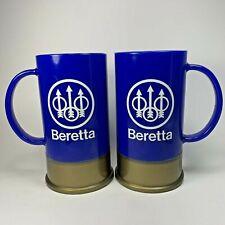 Vintage Beretta Firearms Big Shot Shotgun Shell Blue Coffee Mug USA Set of 2
