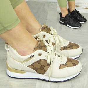 Ladies Running Trainers Shoes Womens Sneakers Lace Up Fashion Size Comfy Pumps
