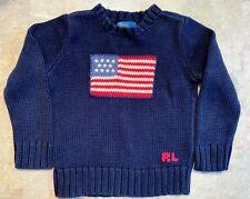 Ralph Laurent Flag Knit Sweater Kids Size 4 Blue
