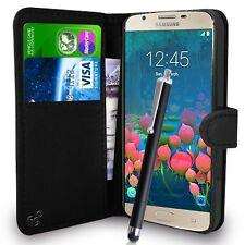 Black Wallet Case PU Leather Book Cover For Samsung Galaxy J5 Prime G570F Mobile
