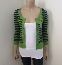NWT Hollister Womens Striped Cardigan Size XS Sweater Green & Navy Blue Bow