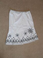 Anne Brooks - Debenhams - white skirt with black beads and sequins size 10