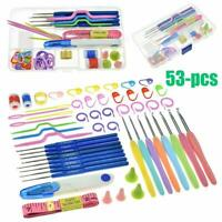 53Pcs Crochet Hooks Knitting Needles Knit Weave Craft Yarn Set Sewing Grip Kit