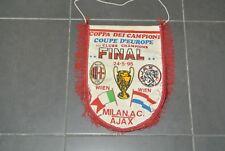 vintage BIG PENNANT FANION 40 cm  AC MILAN AJAX 1995 FINALE EUROPEAN CUP