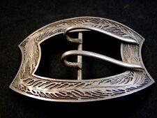Vintage Victoriano Firmado Art Nouveau Plata de Ley Hebilla de Cinturón