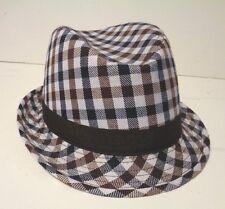 KB Ethos Mens White Brown and Black Plaid Fedora Hat Medium/Large