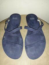 Eileen Fisher navy blue leather criss cross flat sandal.  9.5M