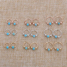 Beauty Metal Nose Ring Charm Nostril Hoop Turquoise Body Piercing Jewelry 1 Pair