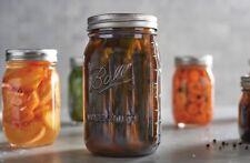Ball Elite 32 Oz Wide Mouth Glass Mason Jars Amber Set Of 4,  Fruit Storage