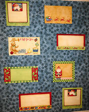 Christmas Fabric Quilt Labels 8 per panel Blue by P&B