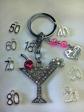 18th 21st 30th 40th 50th 60th 70 Personalised Birthday Gift Keyring Bag Charm