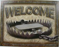 Welcome Bear Trap Rustic Funny Hunting Cabin Man Cave Wall Decor Metal Sign Gift