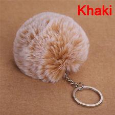 2017 Faux Rabbit Fur Pom-pom Key Chain Bag Charm Fluffy Puff Ball Keyring 3c Wine Red
