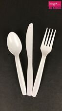Disposable White Plastic Cutlery Set Spoons Forks Knives Party Server BULK 12240 192sets (576pcs)