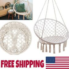 Patio Hammock Chair Garden Relaxing Chair Swing Chair Beige Hanging Cotton Rope