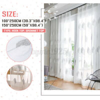 Embroidered Tree Window Curtain Voile Sheer Fabric Balcony For Office Room Home!