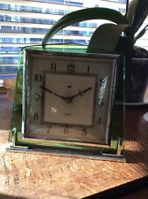 1930's ART DECO SMITHS ELECTRIC SQUARE GREEN GLASS CLOCK BEAUTIFUL!