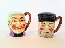 Vintage Salt and Pepper Shakers Toby Mugs Japan with Cork Stoppers