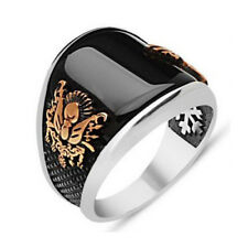 Turkish Ottoman ONYX STONE 925K STERLING SILVER MEN'S RING SZ 7 up to 12