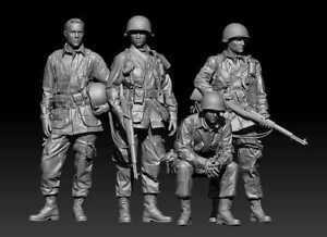 4 PC Soldier Military Miniature Resin Figure Model Kit Unassembled Parts 1:35
