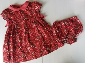 Tommy Hilfiger Pink Floral Collar Dress & Bloomers Set Size 18-24 Mo