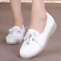 White Womens Leather Wedge Oxfords Nurse Work Shoes Occupational Nursing Shoes
