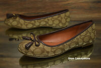 Coach Benni Ballet Flats Khaki Brown FG2708 Slip On Women's Shoes - Multi Size