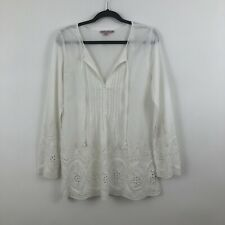 Calypso St. Barth Womens Size Medium White Pintuck Eyelet Tunic Top