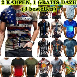 Herren 3D Blumen Slim T-Shirt Drucken Gradient Fitness Sommer Muscleshirt Top DE
