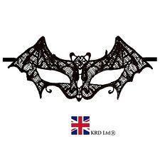 BLACK LACE BAT MASK Masquerade Ball Halloween Gothic Fancy Dress Accessory UK