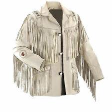 Sleekhides Men's Western Fringed & Beaded Indian Suede Leather Coat All Sizes