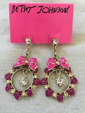 BETSEY JOHNSON Rose Garden Pink Bow & Roses Crystals Gold Dangle Earrings $45