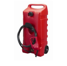 14 Gallon Portable Gas Fuel Tank Container With Hand Transfer Pump Wheel Storage