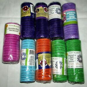"""Lot of 9 Rolls Decorative Mesh Crafts Wreath 6"""" x 5 yards NEW Variety of Colors"""