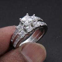 1.75 Ct Princess Diamond Engagement Ring Wedding Bridal Set Solid 14k White Gold